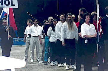 Laurel Priestley, Clem Boer and Steve Lawry at the Opening Ceremony, World Championship, Essen, 1996