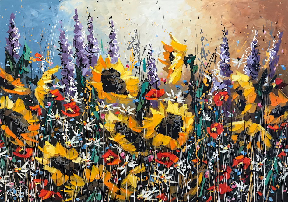 "Sabina  ""Sunshine Flowers""  Size: 36"" x 48""  Original mixed media on canvas"
