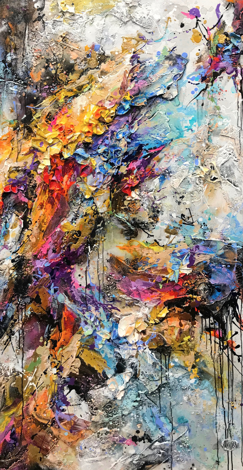 "Miri Rozenvain  ""Colorful and Fun""  Size: 60"" x 30""  Original mixed media on canvas"