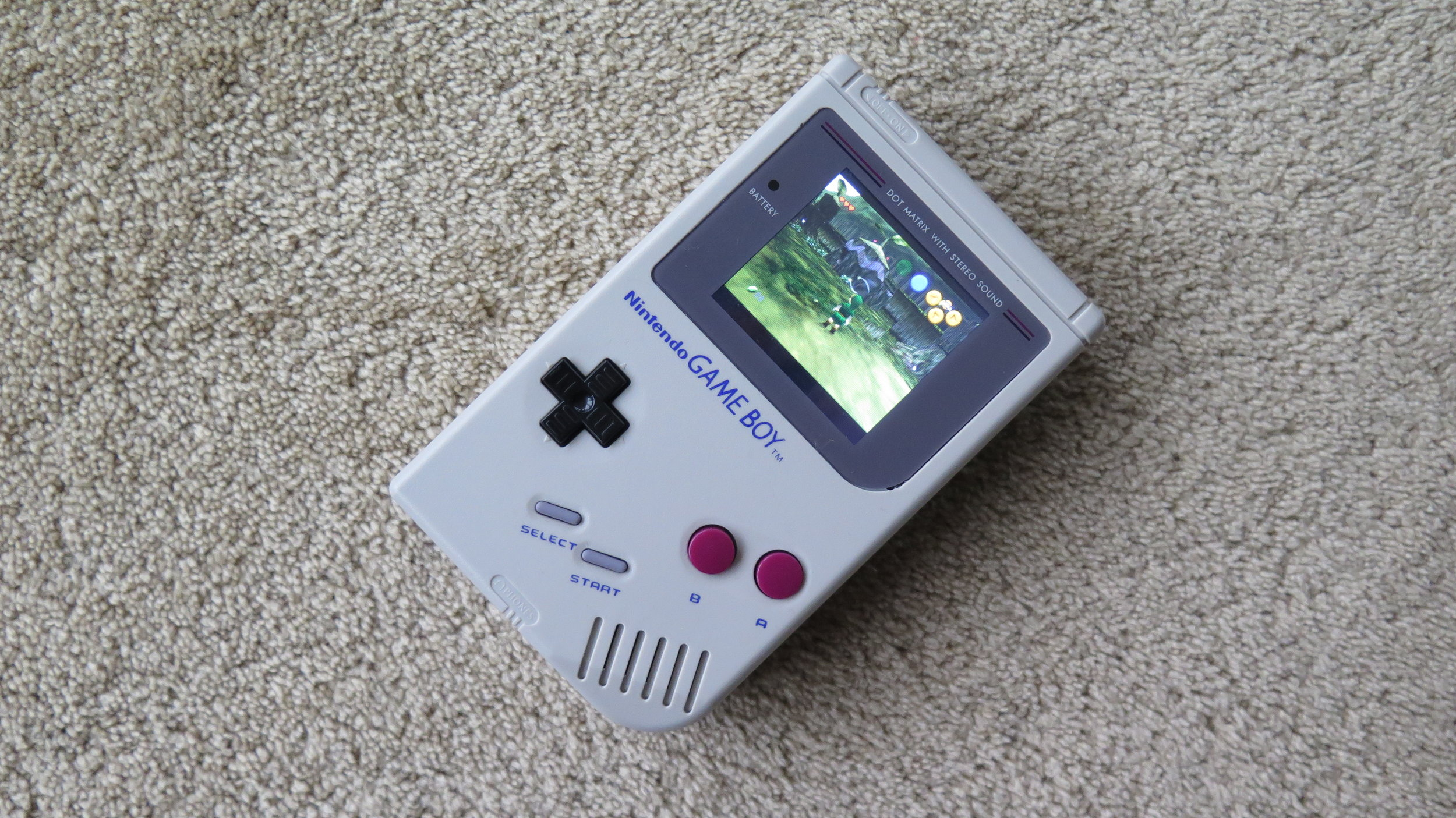 Gameboy running Zelda - Ocarina of Time N64