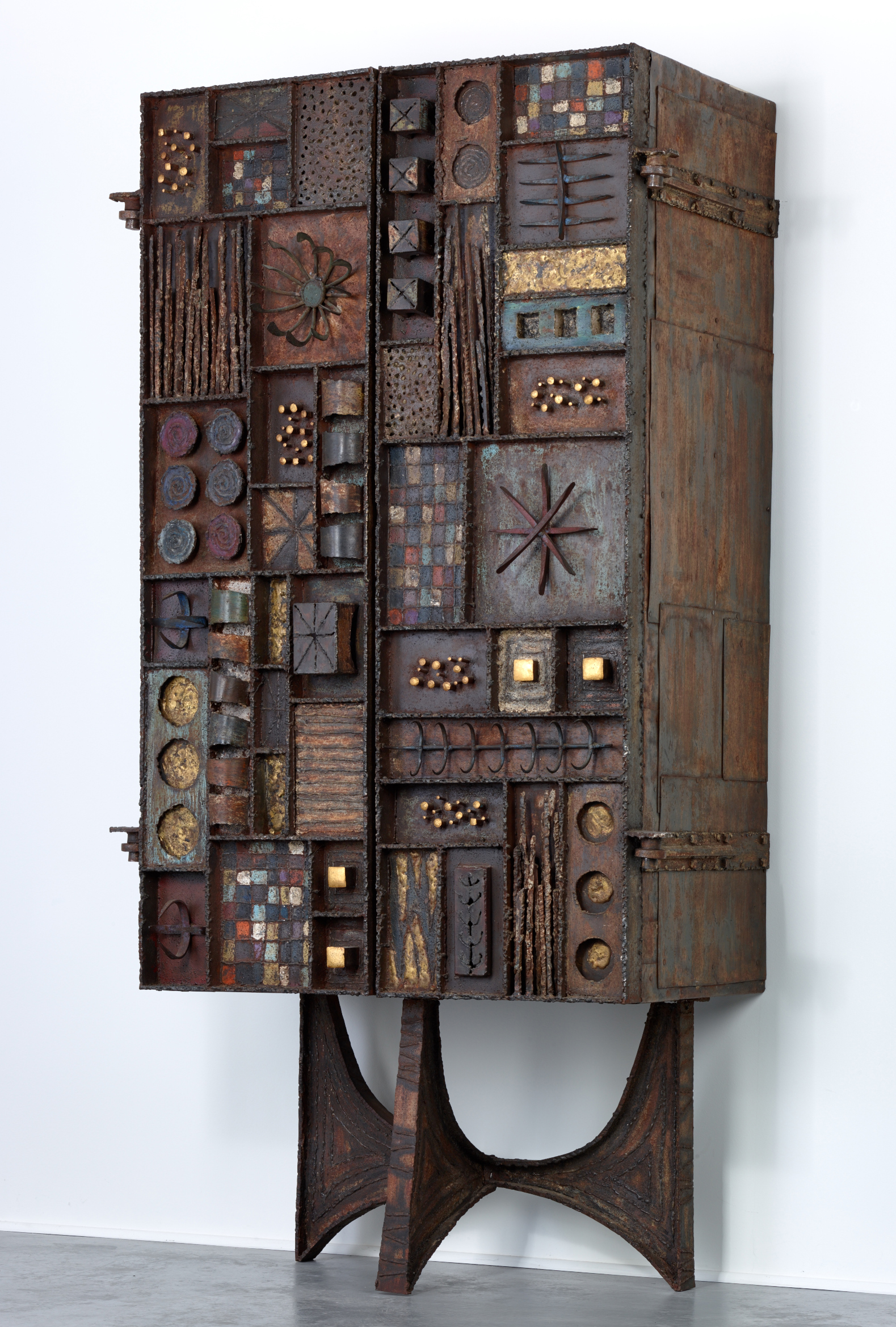 One of a Kind Paul Evans Forge / Sculpture Front Cabinet, 1969