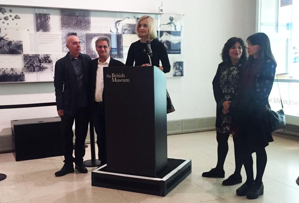 Opening reception at The British Museum, Last Whispers team: Marco Capalbo (left), Mark Mangini, Lena Herzog, Mandana Seyfeddinipur, Margaret Morris (right)
