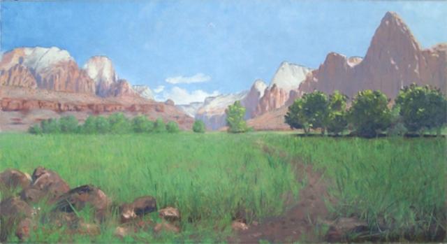 Zion Canyon  by Frederick Samuel Dellenbaugh, Oil on Canvas ( source )