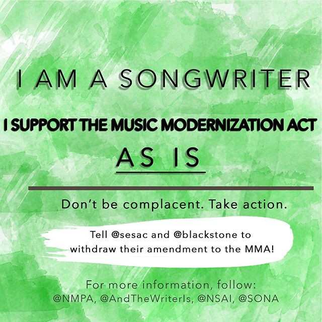I support the #MusicModernizationAct AS IS. @sesac / @blackstone, please withdraw your amendment. (share if you feel the same)