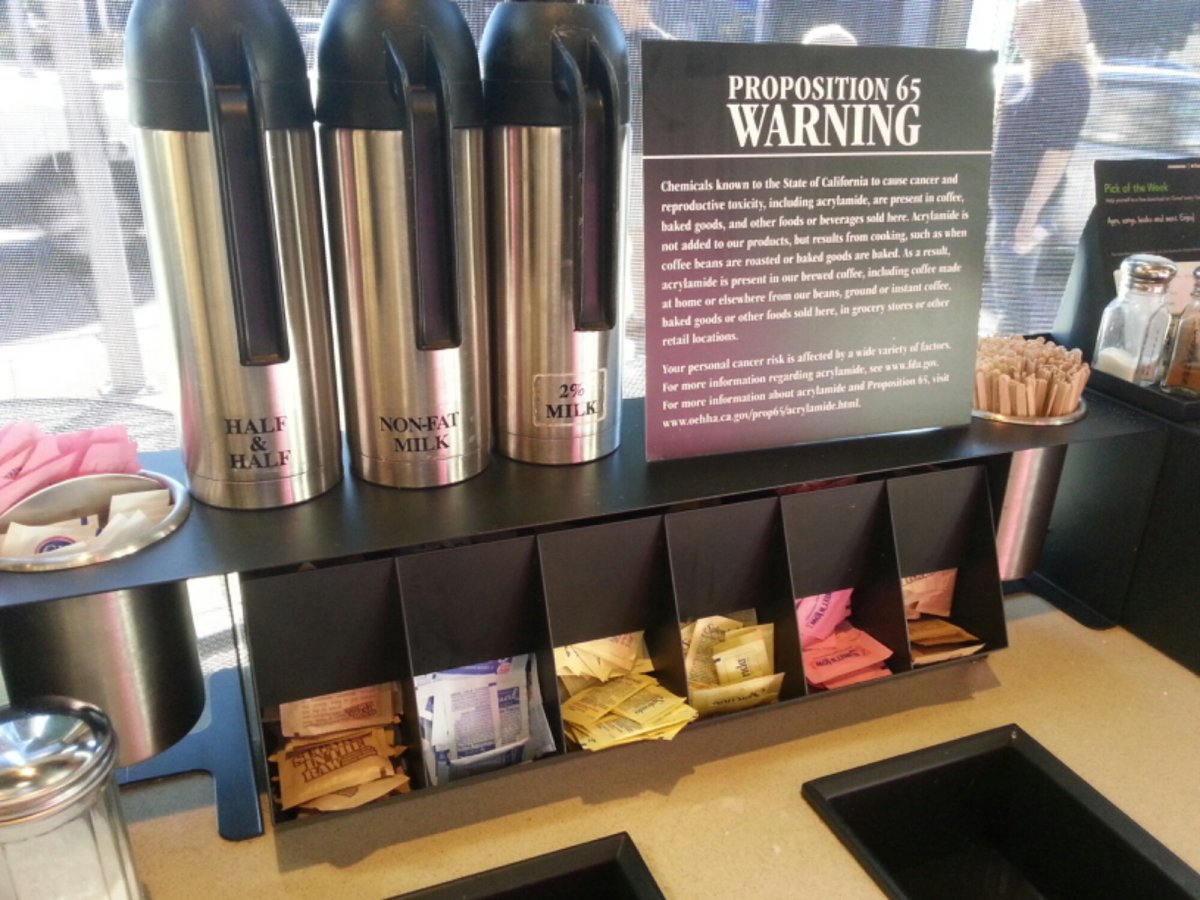 A Starbucks in Pasadena displays a cancer-warning sign - an increasingly common sight in coffee retailers across the state of California
