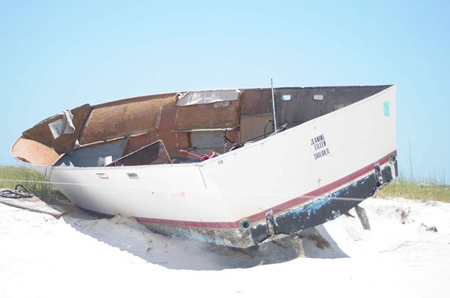 "When we were exploring down in the Gulf of Mexico, we saw several boats that had been tossed about by #hurricanemichael. They were beached on Shell Island. The insides of boats were missing even though the shell was still somewhat intact. . I keep thinking about how I've felt like that before. From the outside we can look like we have it together and on the inside we are just trying to get back up again. Has anyone else been there? . Life is tough. It's hard, and it's certainly difficult to do it all on your own. When we lean into God, still ourselves to hear what He has for us, fix our eyes on Him, and read His promises we can be filled with hope for the future. . If you're feeling like this beat-up shell-of-a boat today, repeat these words and find a quiet place to breathe in His peace. . ""For I know the plans I have for you, declares the LORD, plans to prosper you and not to harm you, to give you a future and a hope. 12Then you will call upon Me and come and pray to Me, and I will listen to you. 13You will seek Me and find Me when you search for Me with all your heart."" -Jeremiah 29:11-13 . . . #mamasminute #shellisland #30a #hurricanemichael #ynapodcast @yourenotalonepodcast #first5app"