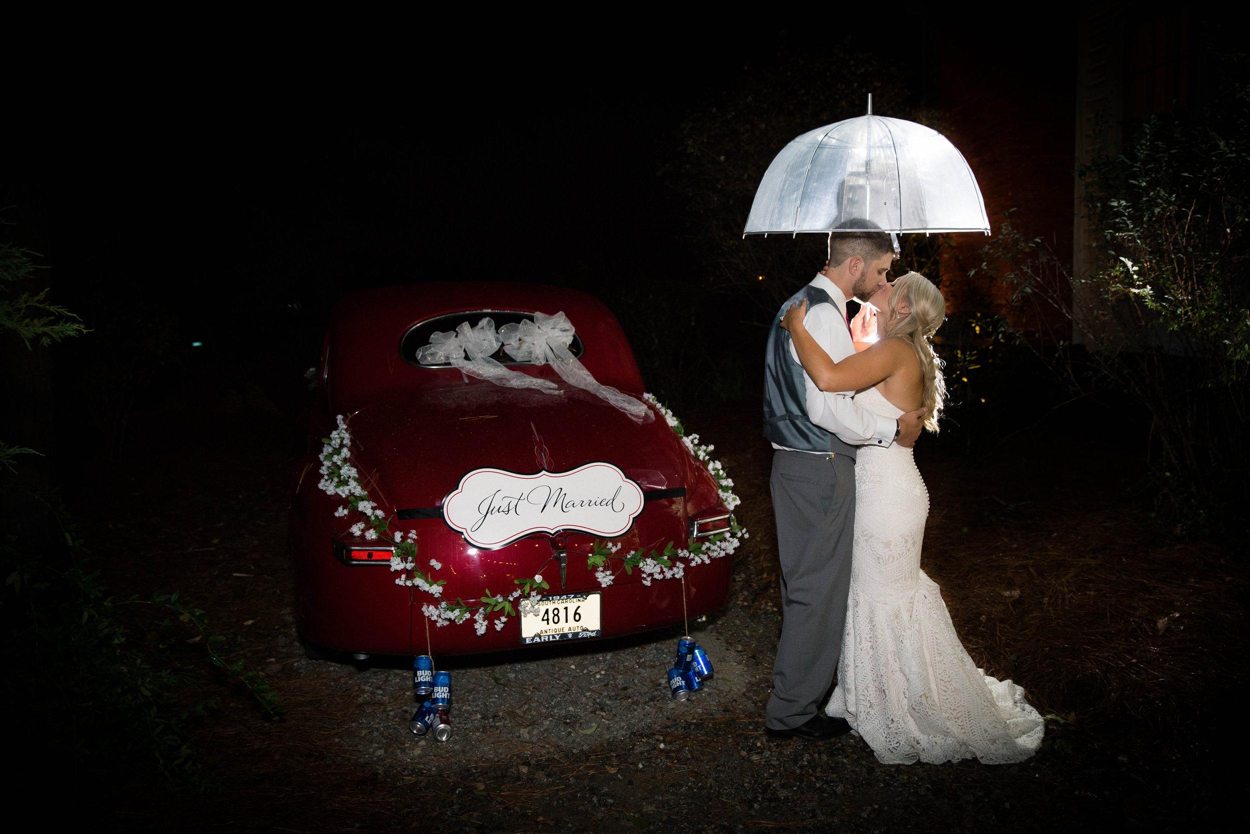 vintage car night wedding photography