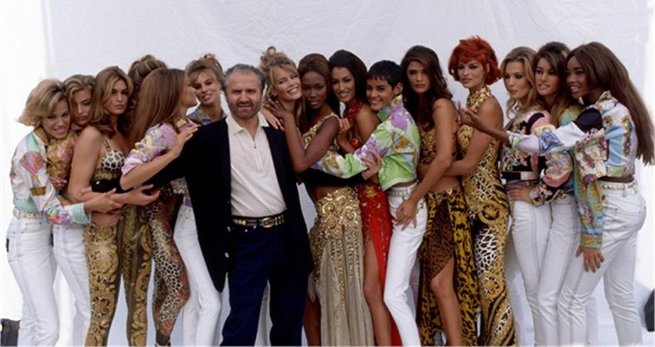 Gianni with his Versace 'supermodels' of the 90's