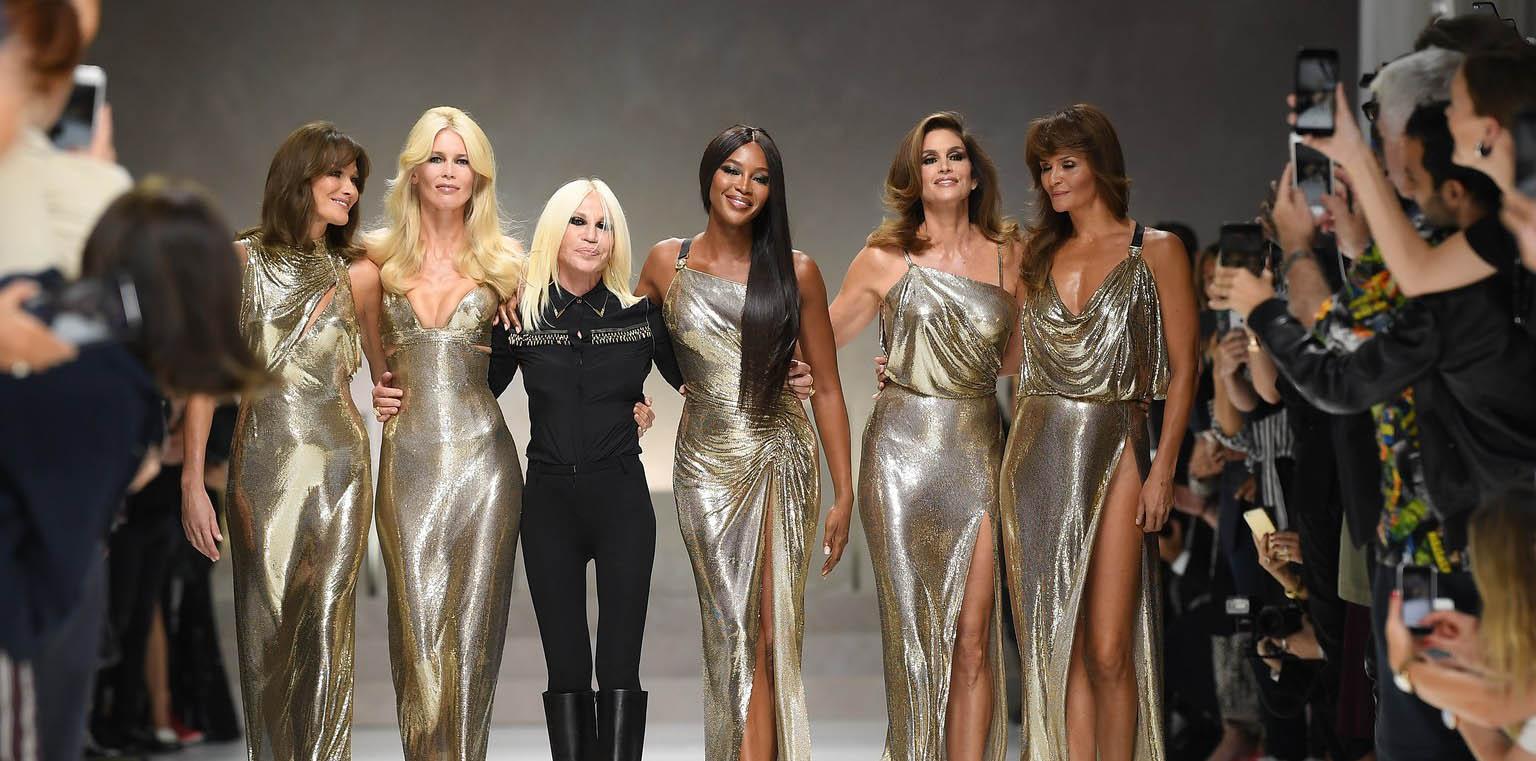 Cindy Crawford, Naomi Campbell, Claudia Schiffer, Helena Christensen and Carla Bruni in Donatella Versace's Milan show