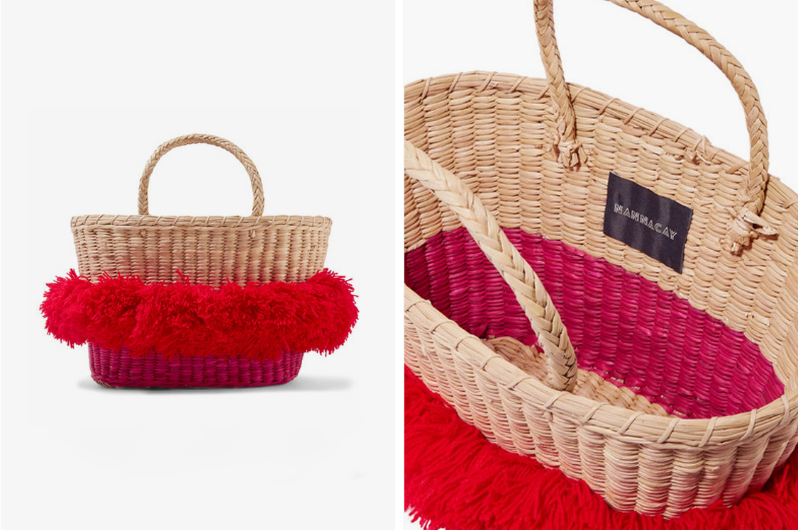 Pieces from Nannacay take eight to ten hours to complete each design. Handcrafted from woven raffia, this 'Mikonos' tote is trimmed with vibrant red wool pompoms and opens to an unlined interior sized to hold your daily essentials. $198: http://bit.ly/2EcicTl