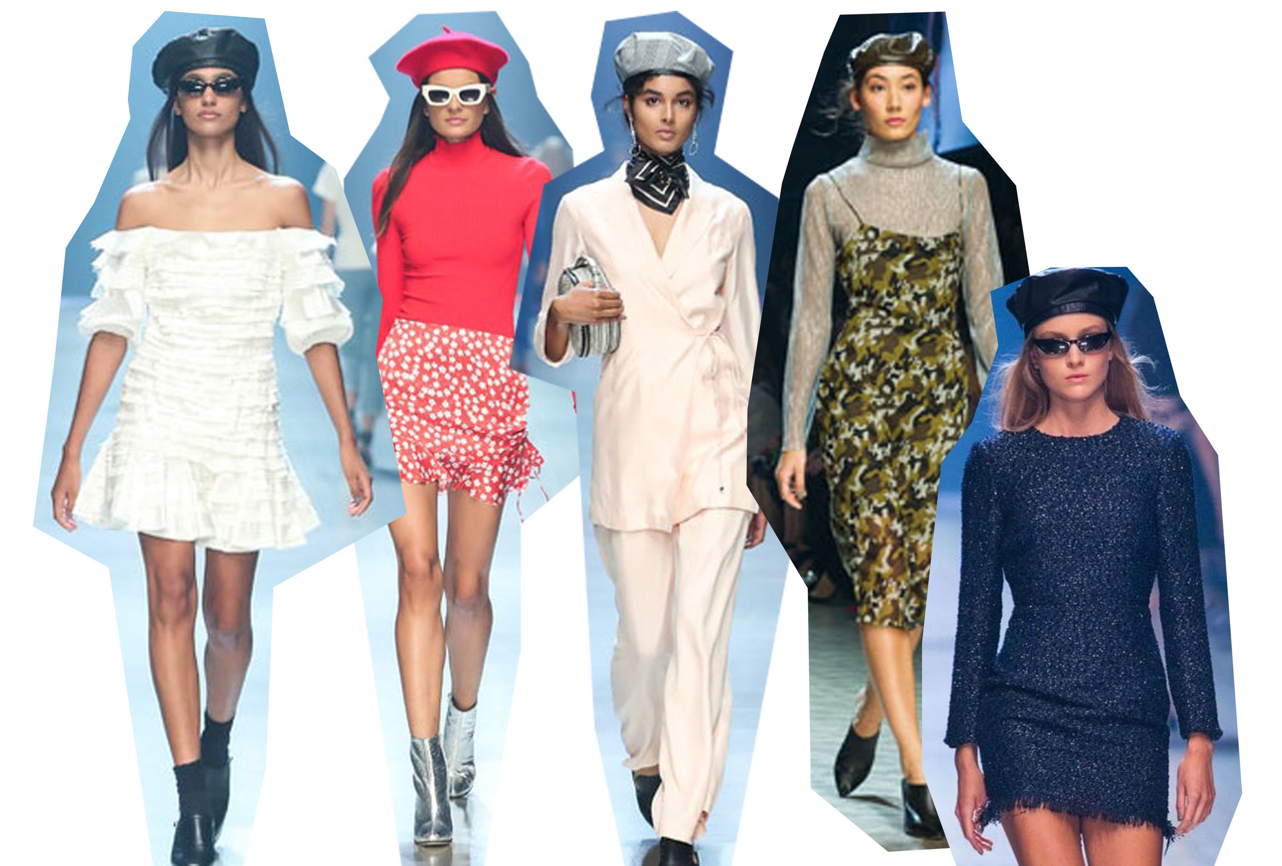 Beret's are everything this season, they stem from the huge Parisian trends that we've been seeing the past couple of years - think bangs, a-line mini skirts, and hair scarves. Bonus points if they're made of plastic leather.