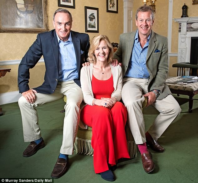 Lord Ivar (right) with his ex-wife Penny, and his fiance James Coyle. Photo credit: Daily Mail