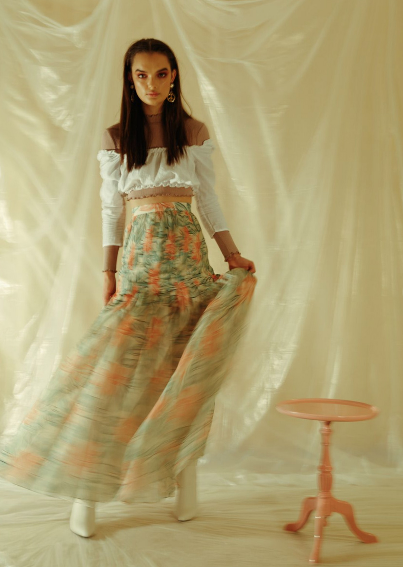 OSCAR DE LA RENTA SKIRT FROM CLAIRE INC, TOPS FROM GENERAL PANTS, TONY BIANCO SHOES -