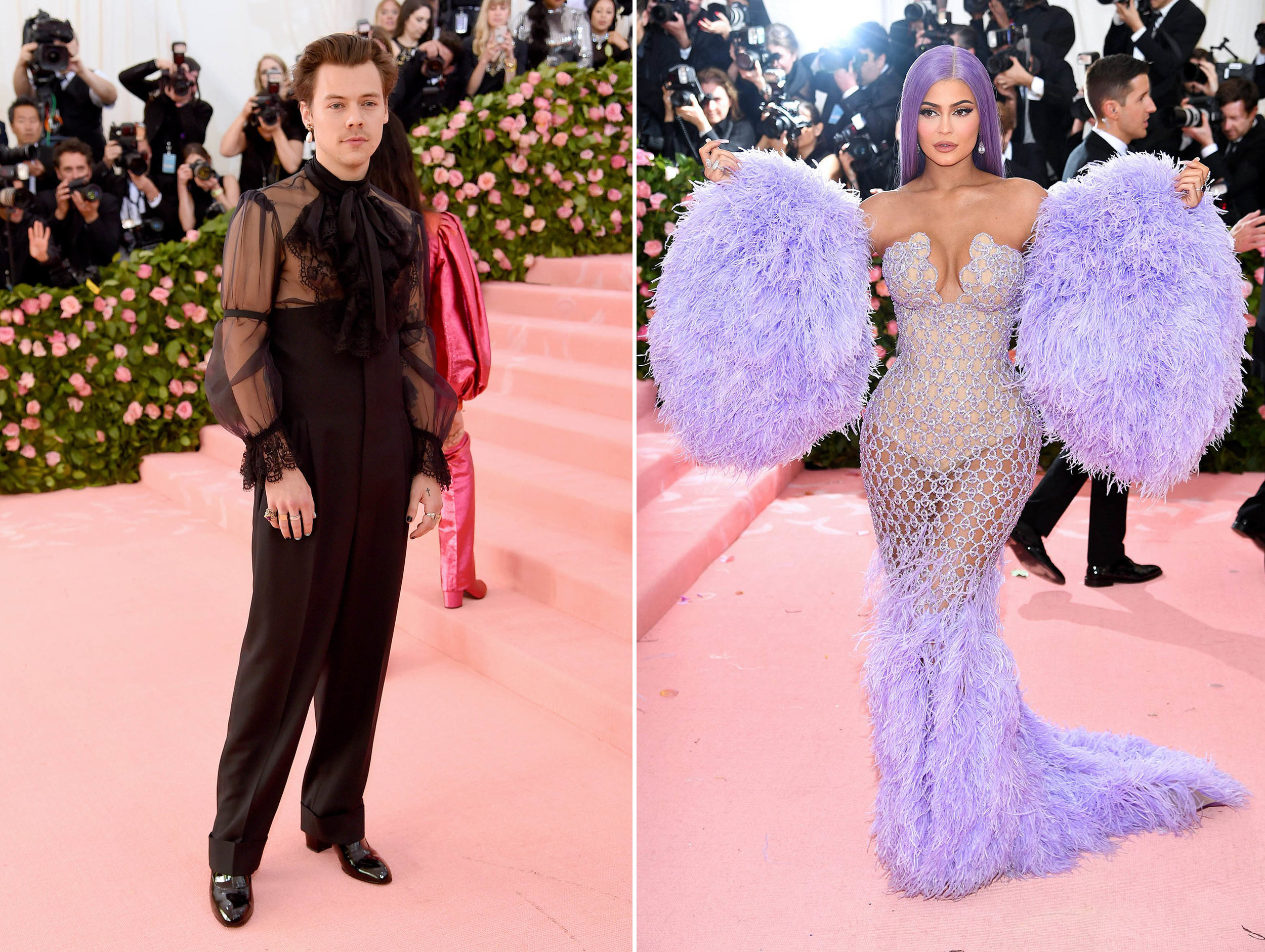 Left: Harry Styles, Right: Kylie Jenner