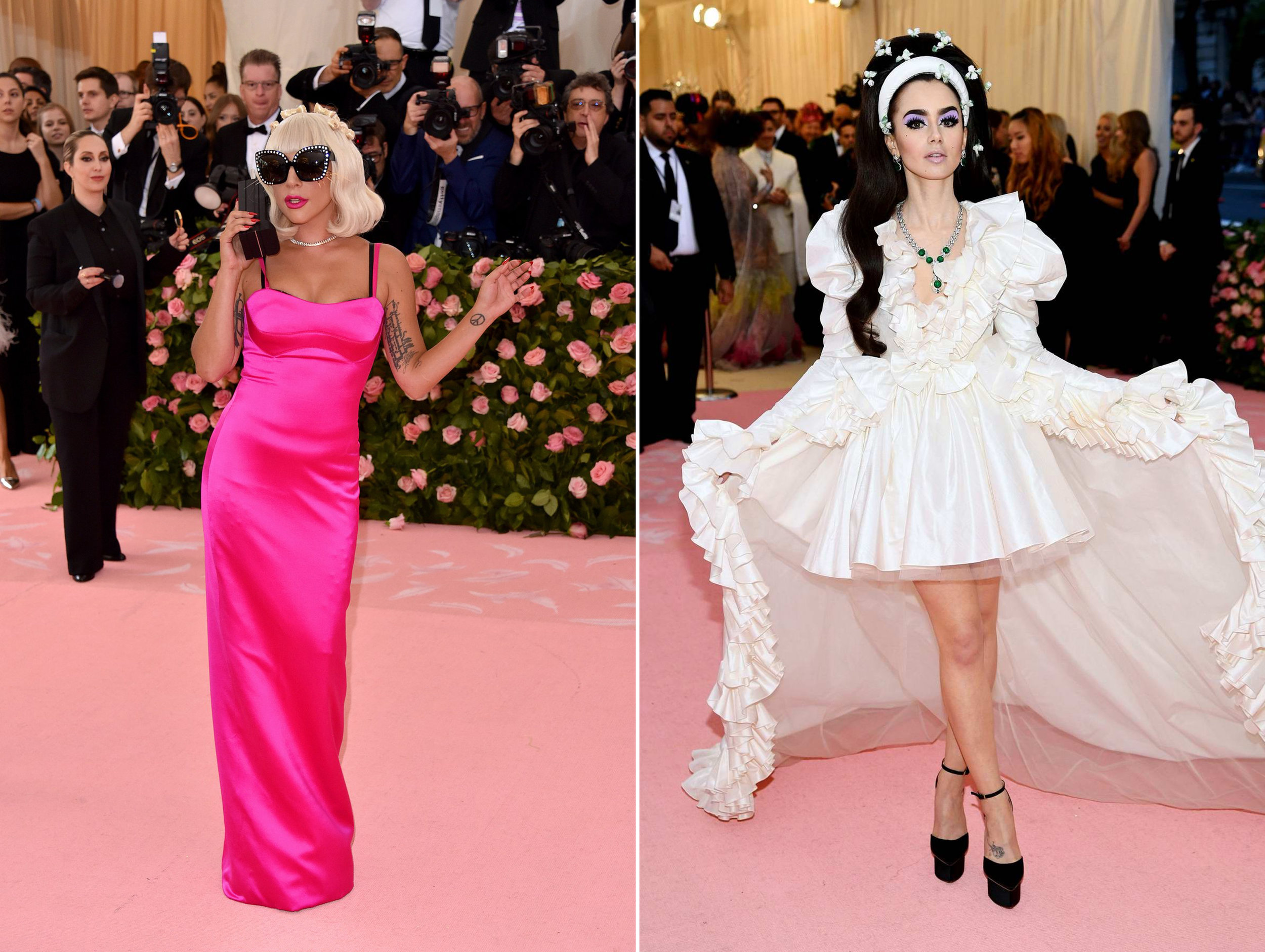 Left: Lady Gaga, Right: Lily Collins