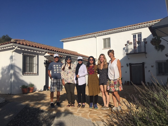 The Afghan athletes with Janice and Julio, the owners of Los Olivos, and She Can Tri founder, Jackie Faye, at their triathlon camp in Alcala la Real