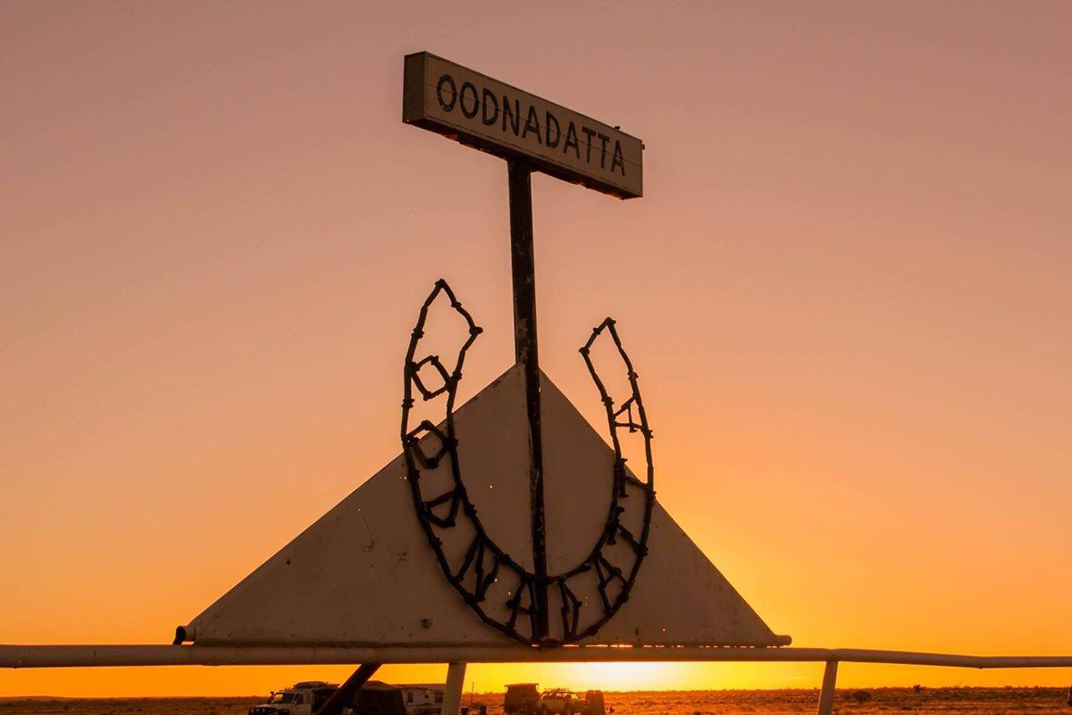 Sunset over the finishing post: Oodnadatta Race Course