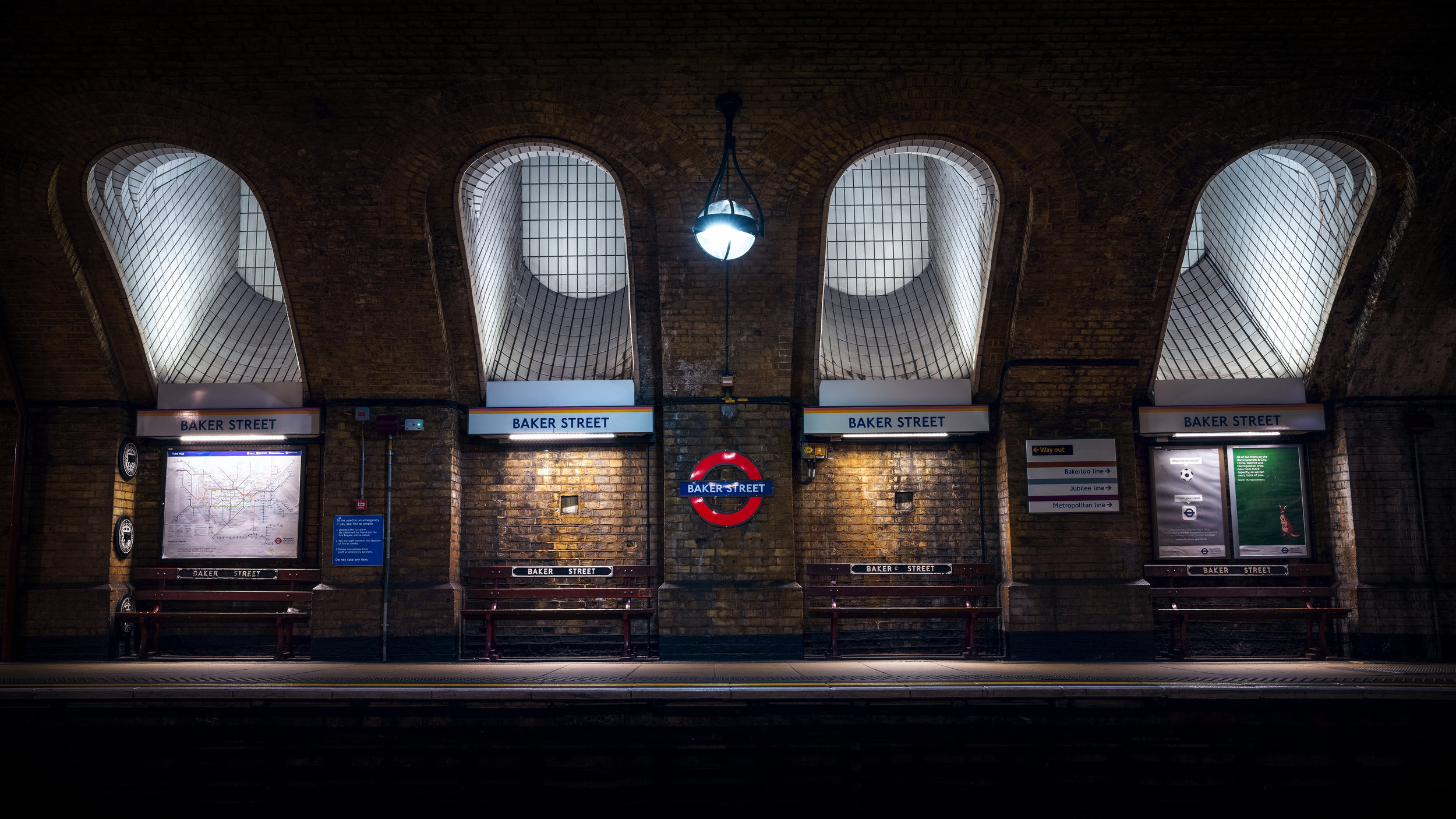 This is the finished product, I'm quite pleased with it, I wanted to shoot a really wide pano but the station was quite busy and it would have take a lot of time to get it exactly how I wanted it. So I'll save that one for another day, one that isn't over a bank holiday weekend.  This is an incredibly detailed image, you cant quite read the writing on the tube map zoomed in though.  Shot with Sony 24-70 f2.8 at 32mm, f9, iso 100, 1.6 secconds