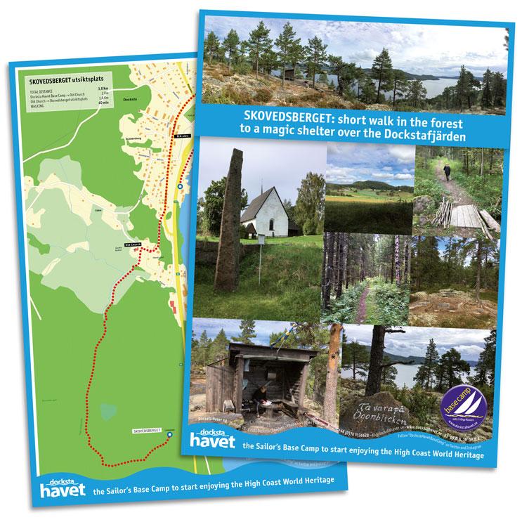 Map of the walk from Docksta Havet Base Camp to Skovedsberget
