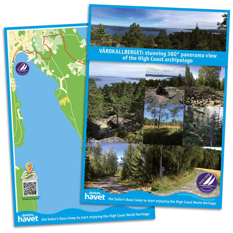 Map of the walk from Docksta Havet Base Camp to Vårdkallberget