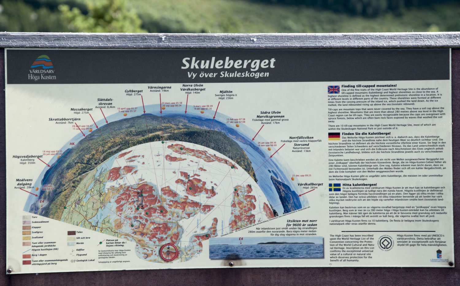 The info board on the top of Skuleberget that illustrates you the 360° view