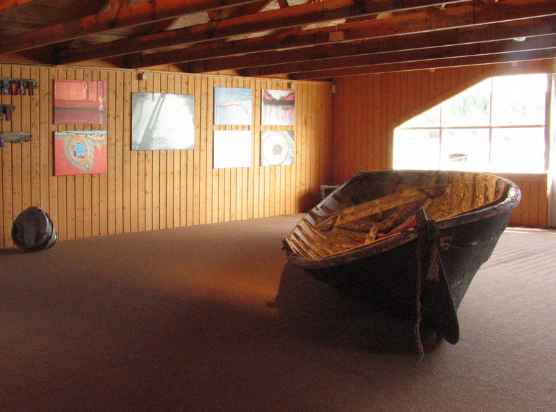 Our skötbåt in the main room of the Docks at Docksta Havet Base Camp