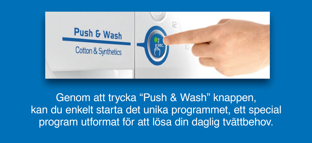 """Innex Indesit is easy with the """"Push & wash"""" program"""