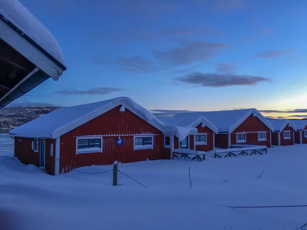 Winter view of the Docksta Havet Base Camp