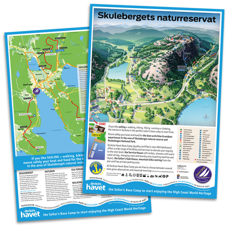 Map of the area around Docksta and Skuleberget