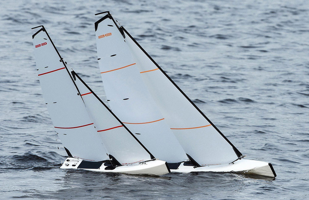 RC sailboats above: sails are trimmed to beating upwind.