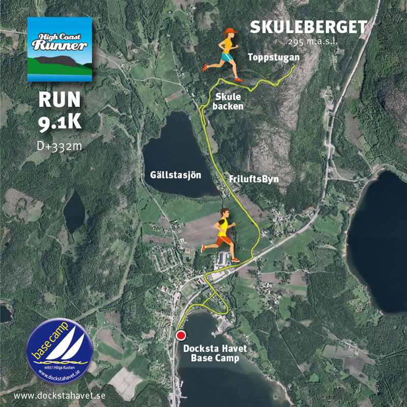 "Trail running course of 9km to the summit of Skuleberget via the ski track ""Skule backen"""
