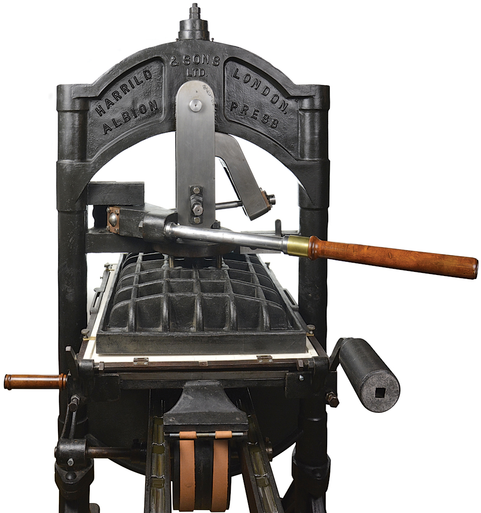 Built to order in 1928 in London for the Carnegie Institute of Technology in Pittsburgh, PA, this Albion iron hand press is one of a matched pair, which were among the last presses manufactured there.
