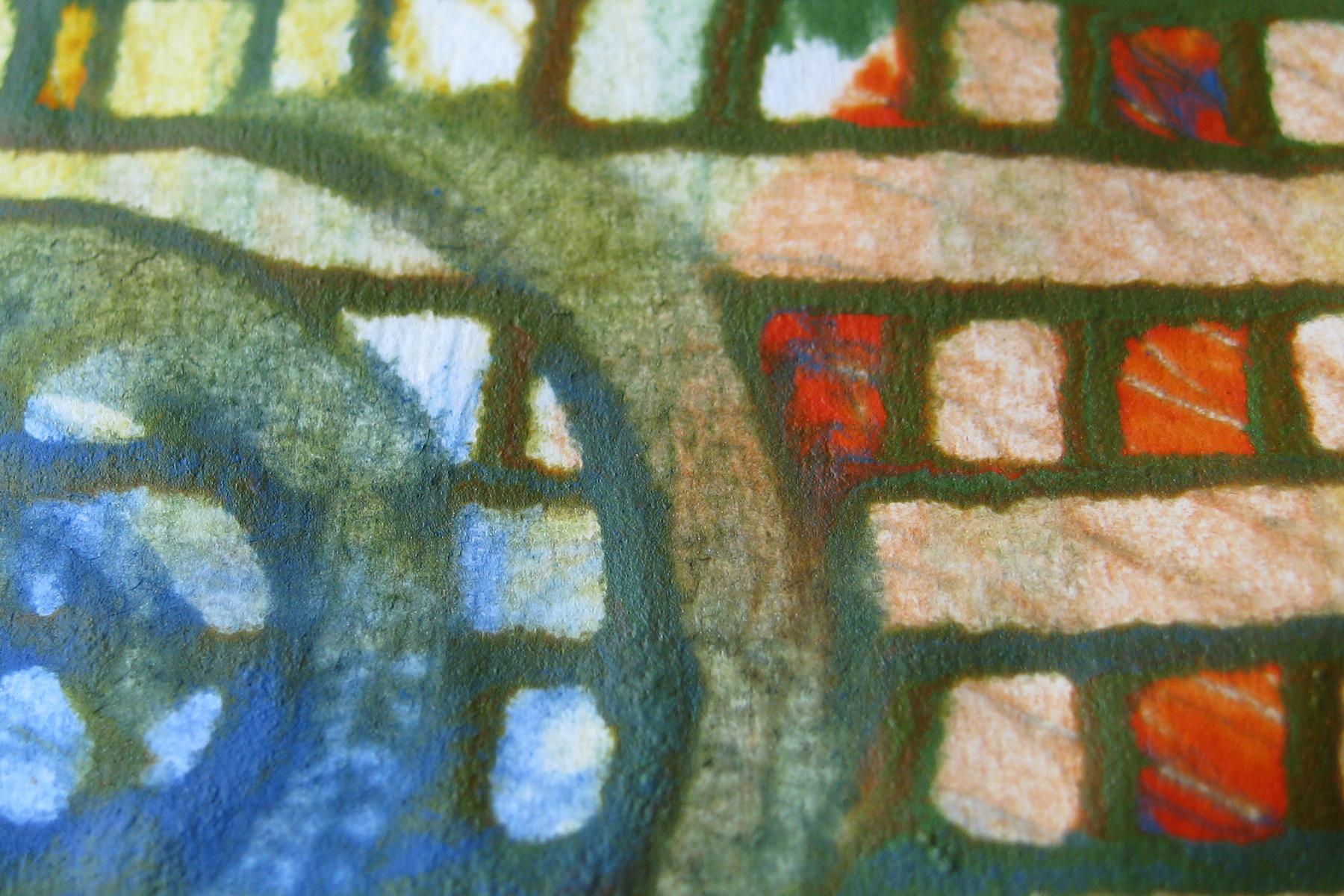 ⬆ This close up shows some of the shading and dimensional qualities that wheat paste gives the painted surface.