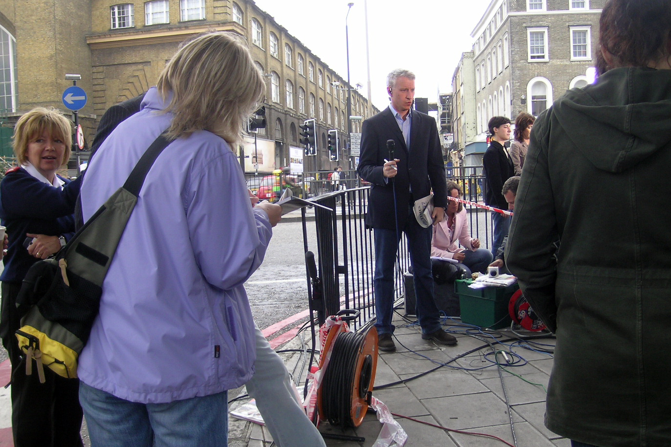 As we walked to the bus Anderson Cooper was doing a newscast for CNN.