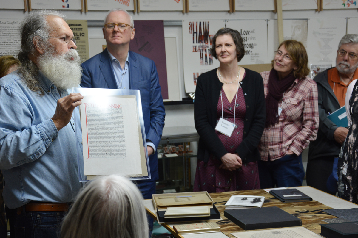 This original and unbound Genesis 1 : 1 folio sheet from the  Doves Press Bible  is a favorite item in the Lead Graffiti collection and a treasured 60th-birthday present to Ray from his university students. This says something both about Ray and the nature of his students.