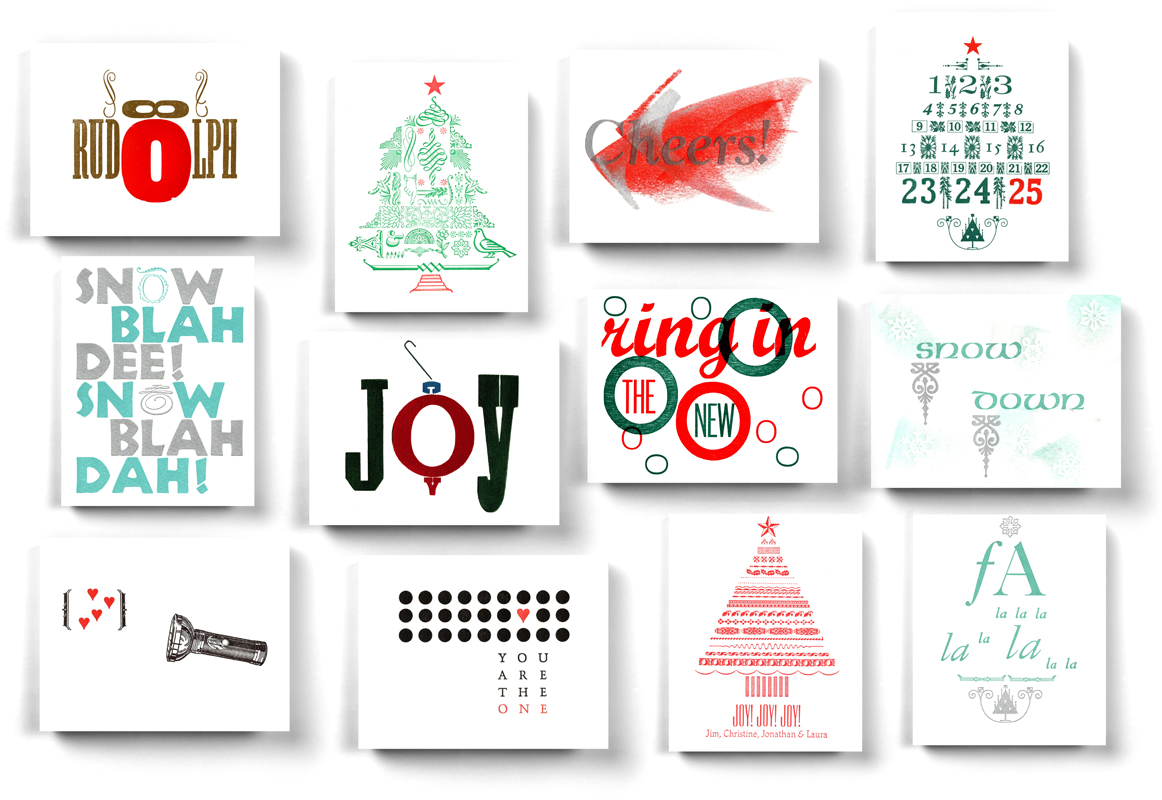 A few of our Christmas / New Years + a couple of Valentines cards done in our Holiday Card creative letterpress workshop.