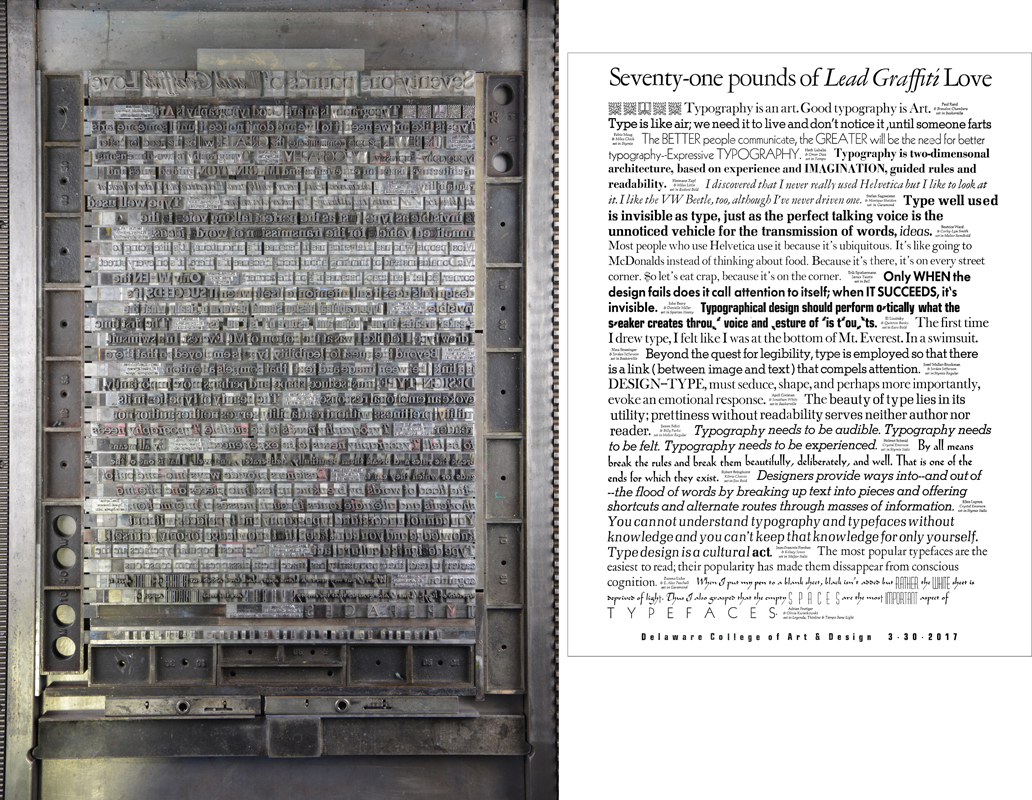 This large, all-metal type lockup (left) weighs 71 pounds. The resulting printed broadside (on the right) displays 17 different fonts from Lead Graffiti's collection.