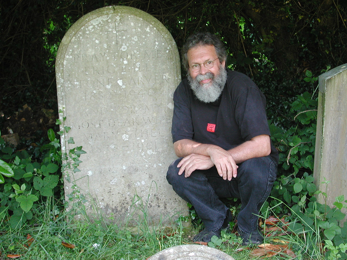 Ray at Eric Gill's gravesite in Speen, England.