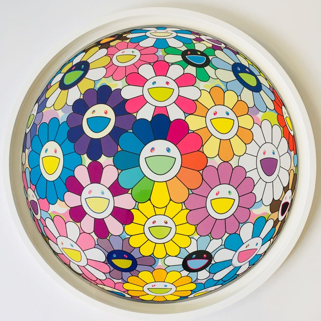 Takashi Murakami Flower Ball - framed with  AcryGuard™    credit picture: The Circular Framing Company