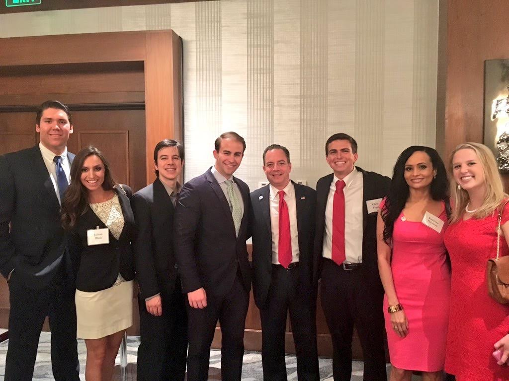 The dress is a 2011 Lilly, and I paired it with a blazer for a 2016 GOP fundraiser with Reince Priebus and Katrina Pierson following Trump's nomination.