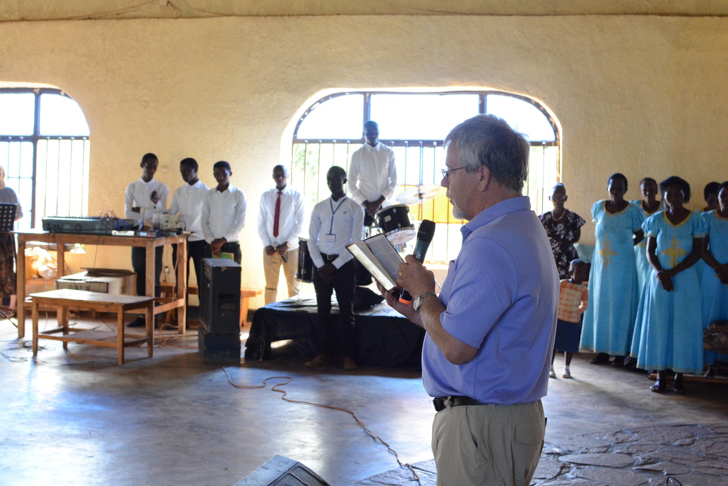 Steve Moon leading the opening prayer