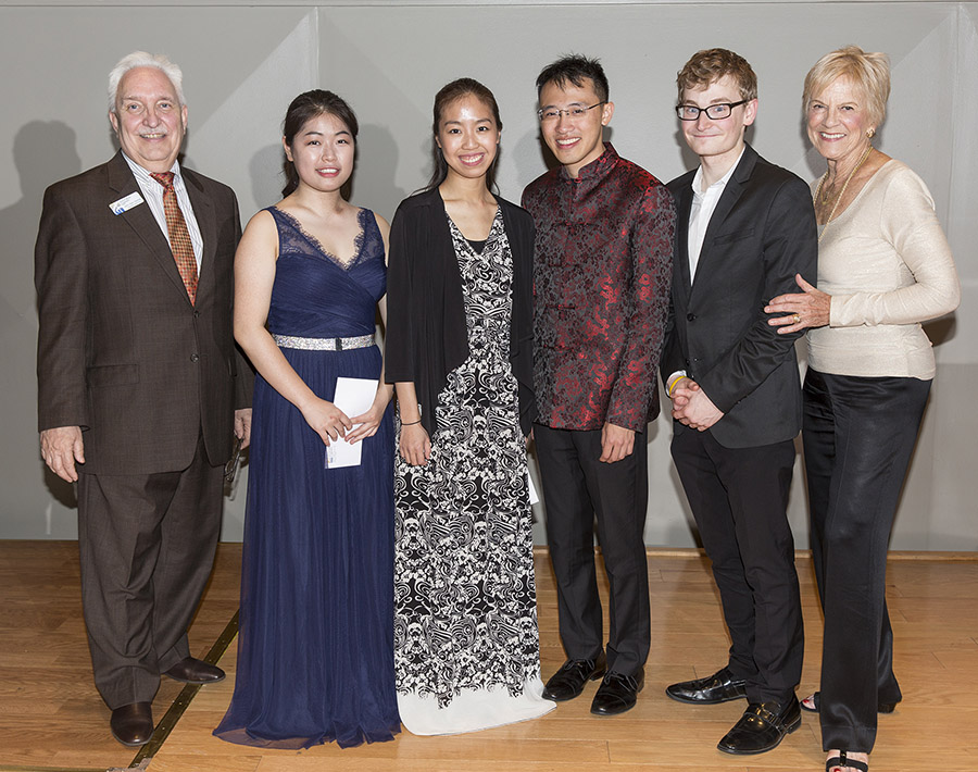PHOTO: 2018 National Young Musicians Competition Winners. (Left to right) John Fischer (managing director for Artist Series Concerts), SoHui Yun (22, Boston, MA), Shannon Lee (22, Boston, MA), Max Tan (24, Sarasota, FL/New York, NY), Alexander Hersh (24, Chicago, IL/Berlin, Germany), Lee Dougherty Ross (co-founder and director of competitions and community programs for Artist Series Concerts). Photo by Rod Millington.