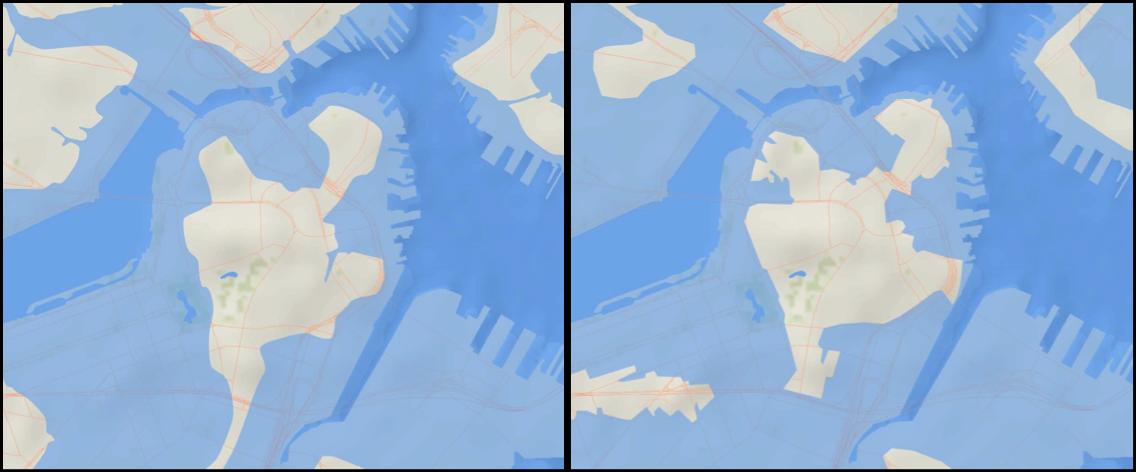 Boston coastline in 1630 (left) and predicted coastline in 2100 (right) (Metropolitan Planning Organization, MA. 2011)