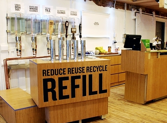 - Shop for natural cleaning products and ask for refill options at your local natural store.