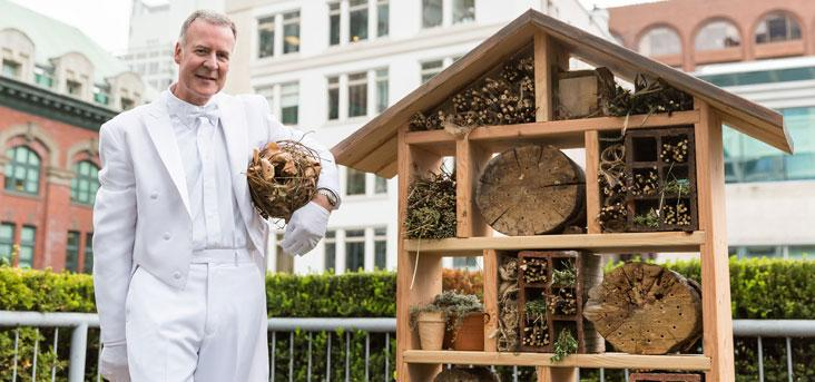Fairmont Waterfront partnered with Hives for Humanity in April of 2014 to place 23 mason bee houses across Vancouver, becoming the first hotel to host solitary bees.    Source: Fairmont Waterfront
