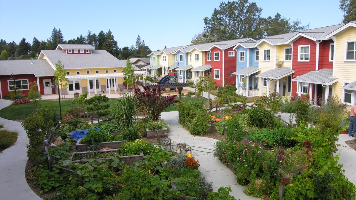Petaluma Avenue Homes, a sustainable co-housing development in Sebastopol, California.   Source:  SchemataWorkshop.com