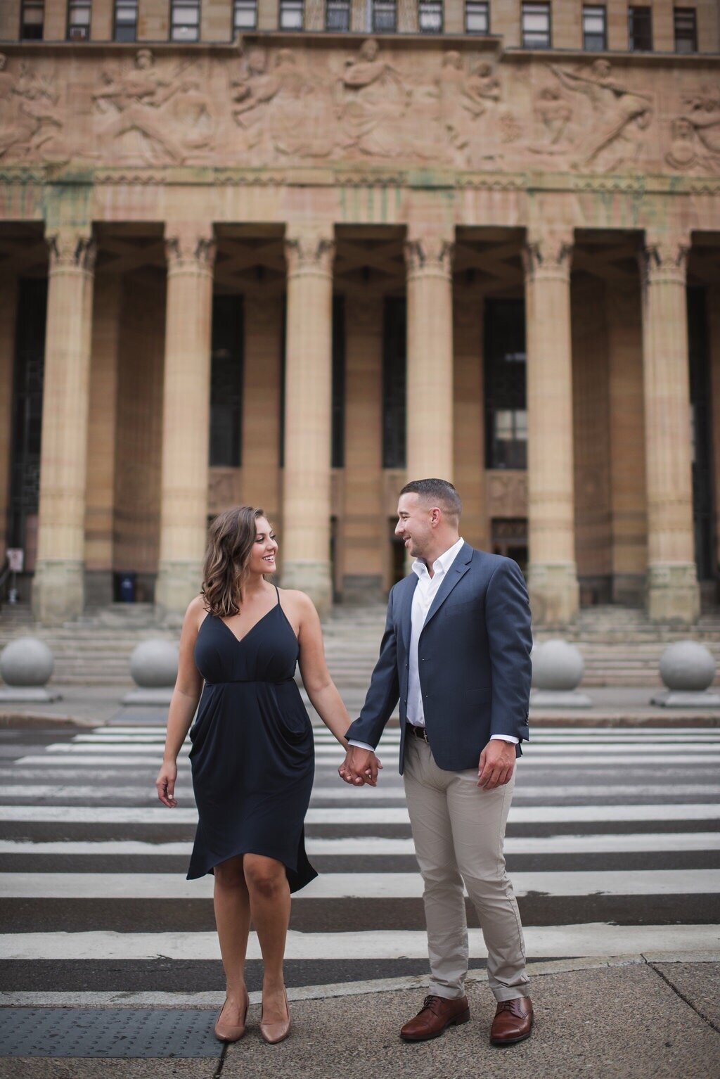 our engagement photos were taken in front of Buffalo City Hall, photo by Colin Gordon  Outfits are 3+ years old, dress was BCBG