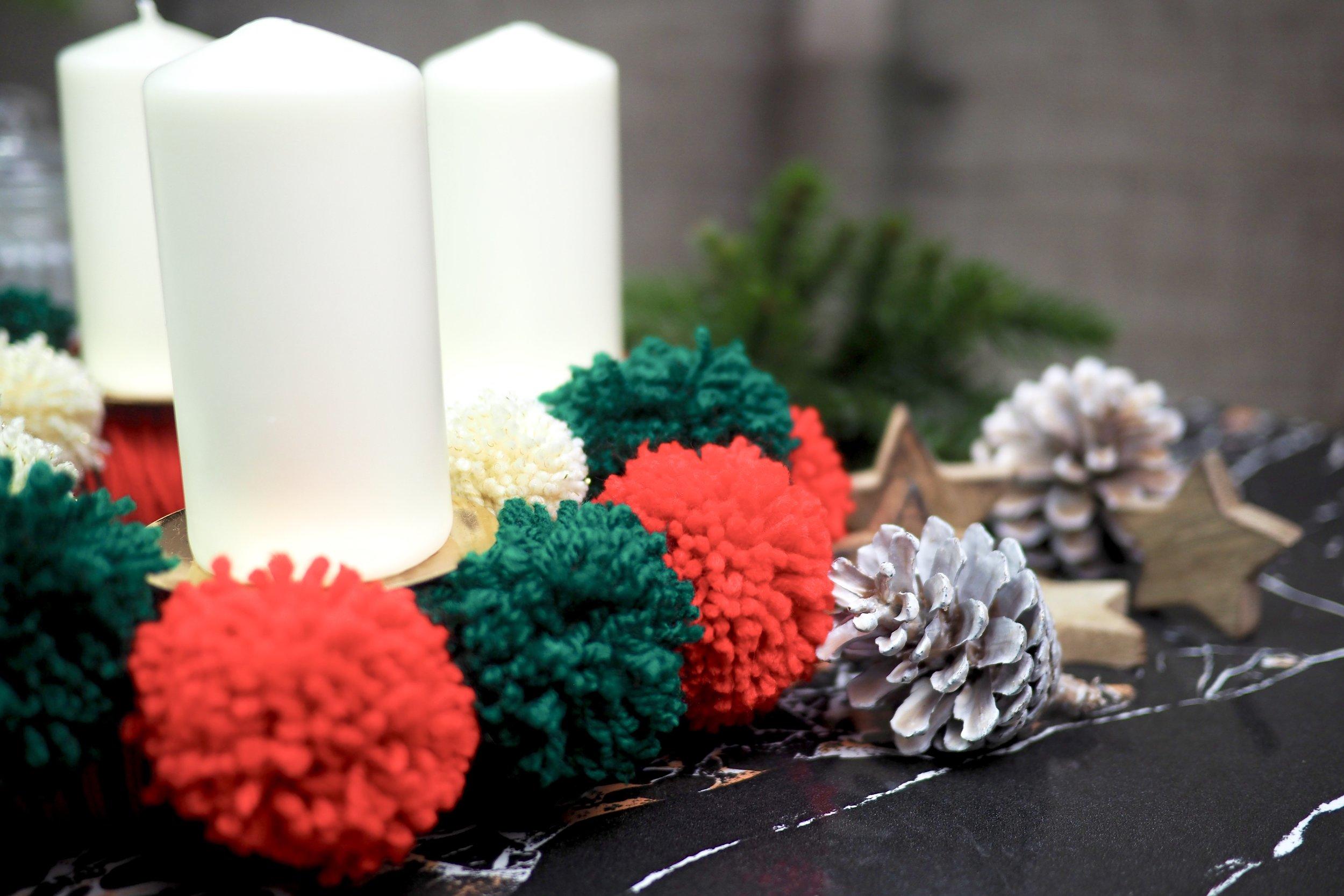 DIY Pompon-Adventskranz
