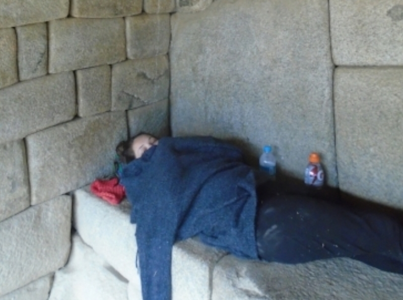 Hiding out and napping in a shaman's hut at Macchu Picchu, after getting food poisoning the day before