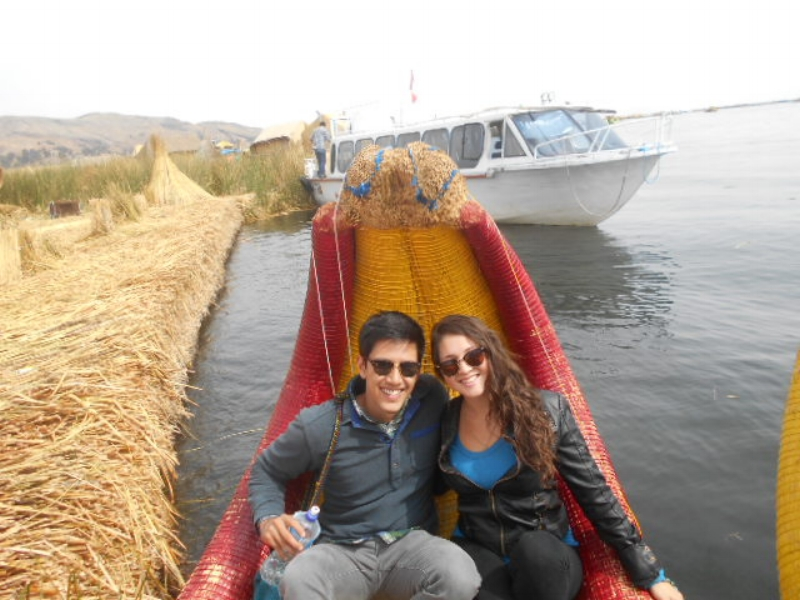 Riding a reed boat on the floating Island of Uros, on Lake Titicaca